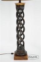 James Mont Carved Wooden Lamp w/ Spiral Column
