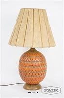 Abstract Orange Lamp with Wooden Base