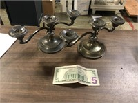 PAIR OF SILVERPLATE CANDLE HOLDERS