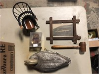 DECOY,GAVEL,BOYDS BEAR,PICTURE AND CHAIR