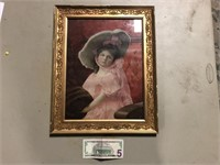 ANTIQUE GOLD FRAME WITH GIRL