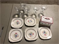 GLASSES, PLATES AND CANISTER