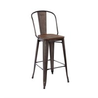 ANTIQUE RUSTY INDUSTRIAL TOLIX HIGH BACK BAR STOOL