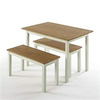 ZINUS FARMHOUSE DINING TABLE WITH TWO BENCHES