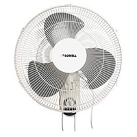 """LORELL 16"""" WALL MOUNT FAN WITH PULL CHAIN"""