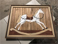 LARGE WOOD ROCKING HORSE PICTURE