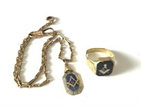 10k Gold Masonic Watch Fob on Chain and Ring