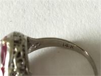Art Deco 14k Filigree Ring with Diamond