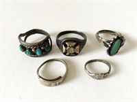 5 Assorted Vintage Silver Rings