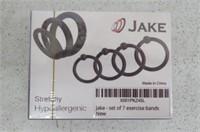 Jake 7-Pc C-Ring & Ouch! 1.5M Bondage Rope