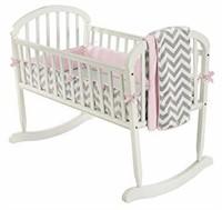 BabyDoll Minky Chevron Cradle Bedding Set, Pink
