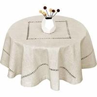 (2) Gluckstein Hemstitch Round Tablecloth-Natura
