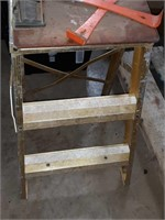 Metal step stool, small pry bars, clipboard
