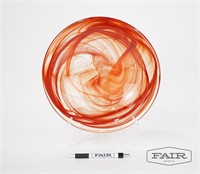 Large Kosta Boda Red and Clear Swirl Glass Bowl