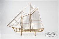 Curtis Jere Large Metal Sailing Ship Sculpture
