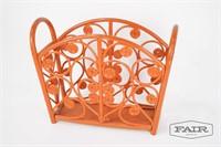 Painted Orange Wicker Magazine Rack