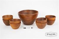 Knobler Teak Salad Bowl Set with 8 Small Bowls