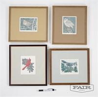 4 Bird Prints, Signed L. Snyder