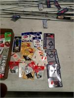 assortment of hooks, leaders; plastics; etc