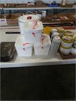 4 styrofoam bait  buckets, 4 Flambeau double cup