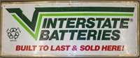 Vintage Metal Embossed Interstate Batteries Sign