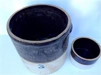 2 Brown and White Stoneware Crocks