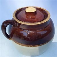 Brown and White Stoneware Bean Pot