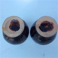 2 Japanese Brown Glaze Vases