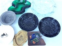 Lot of Assorted Ash Trays, Glass and Metal
