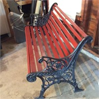 Wood Slat and Cast Iron Park Bench