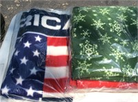 4 Fleece Throws, Christmas, Red, White and Blue