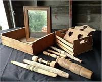 Fruit crates, mail sorter, spindles, mirror