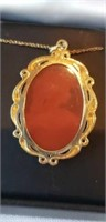 10k yellow gold cameo necklace