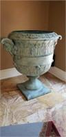 Antique Very Large Bronze Lion Head Urn