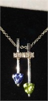 14K white gold tanzanite & peridot pendant & chain