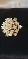 14k white gold diamond cluster ring 3.6dwt