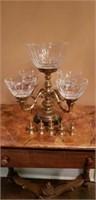 Brass Candleholder & Server on Marble Base