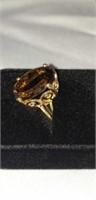 10k yellow gold smoky quartz ring 8.8 grams