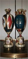 Pair of Antique Porcelain Victorian Style Vases