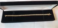 14K yellow gold diamond tennis bracelet