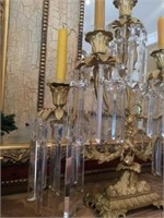Beautiful Pair of Crystal Prism Candle Operas