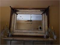 Large Beautiful Ornate Bevelled Glass Mirror