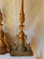 Gold Pair of Tall Decorative Candle Holders