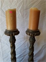 Pair of Heavy Metal Decorative Candle Holders