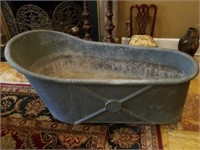 Vintage Galvanized Metal Cowboy Bath Tub