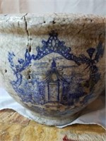 Pair of Large Blue & White Pottery Planters