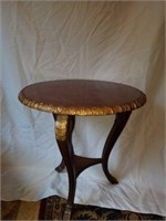 Beautiful Round Wood Carved Side Table