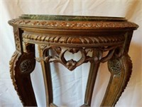 Antique Carved Wooden Marble Top Plant Stand