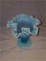 Beautiful Blue Hobnail Fenton Ruffled Edge Vase