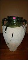 Vintage pottery Olive Jar Vessel glazed top